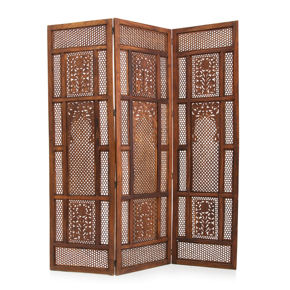 Wood Floral Pattern Screen Screen