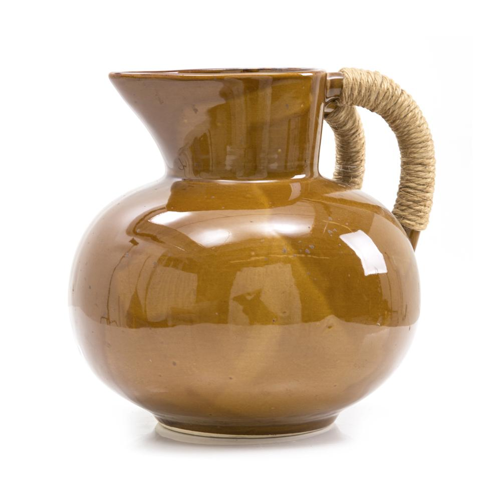 Brown Ceramic Pitcher w Woven Handle