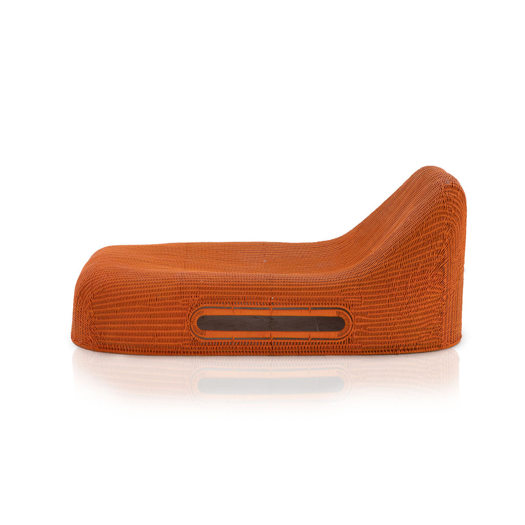 Orange Rattan Outdoor Chaise Lounge