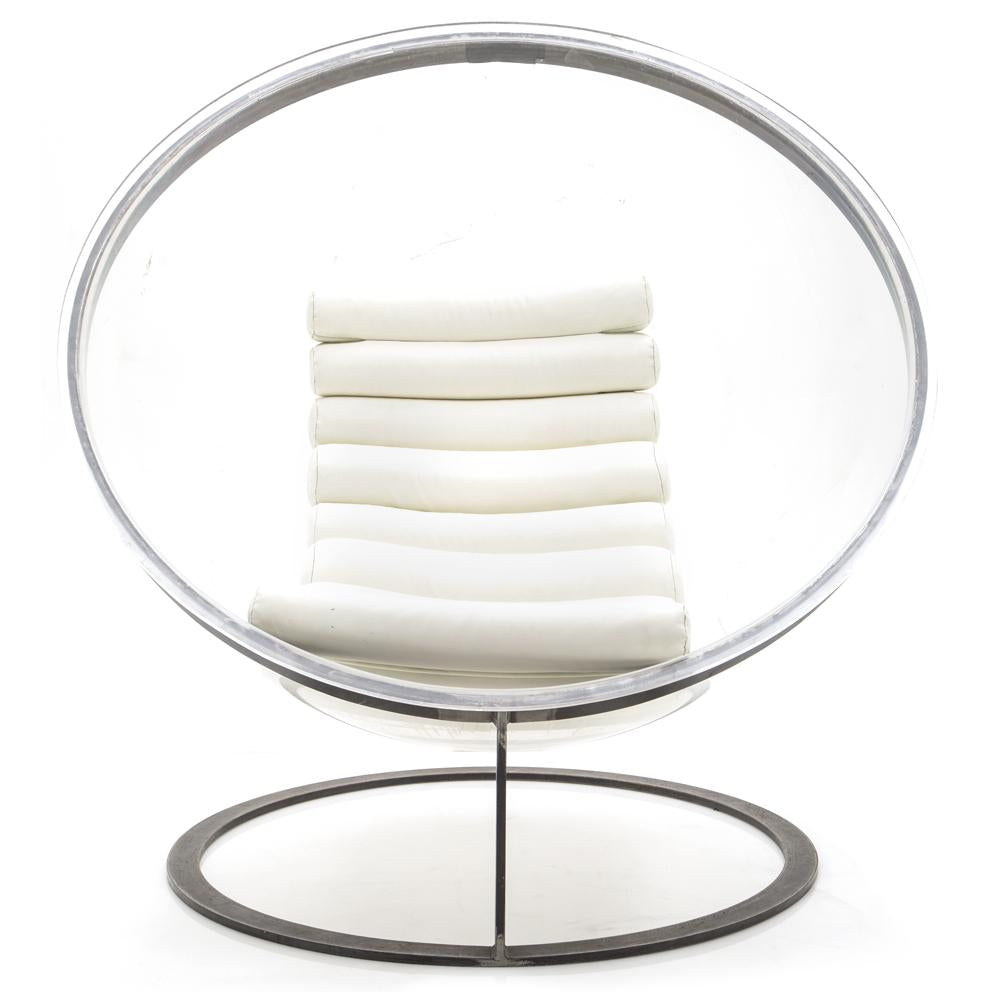 Clear Lucite Ball Chair with White Tootsie Roll Cushion