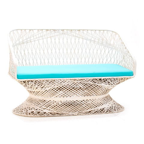Aqua Wicker Outdoor Sofa