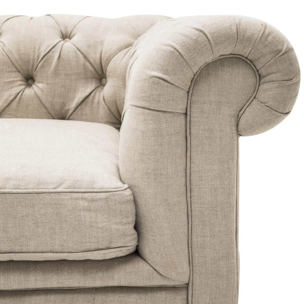 Beige Tufted Chesterfield Sofa