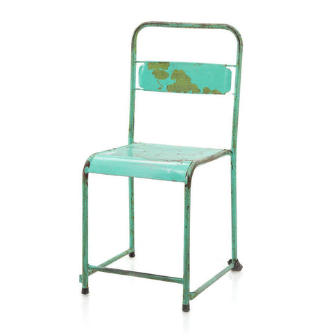 Aqua Distressed Metal Chair