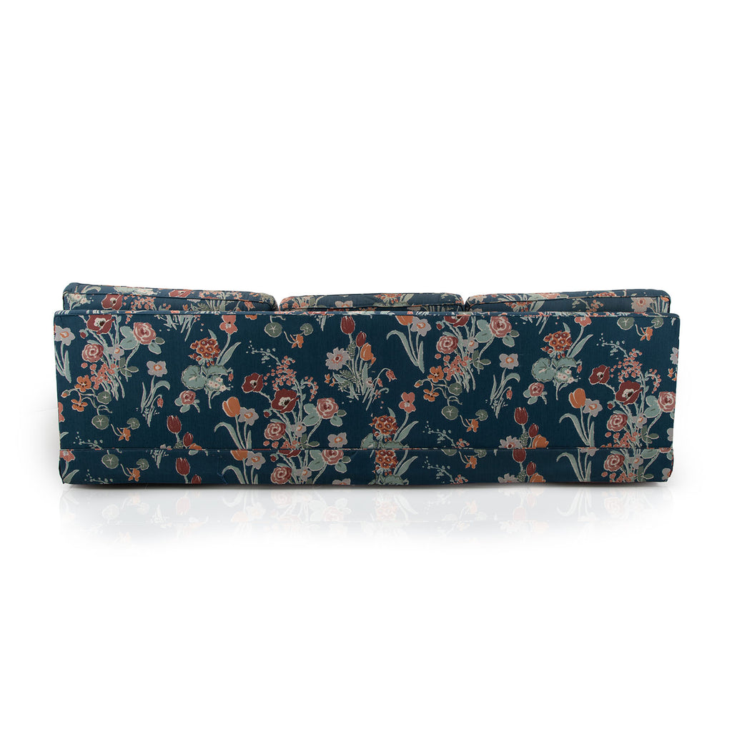 Blue Floral Print Couch with Cover