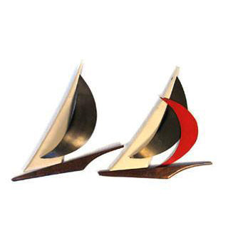 Pair of Wood and Brass Sailboats Wall Hanging