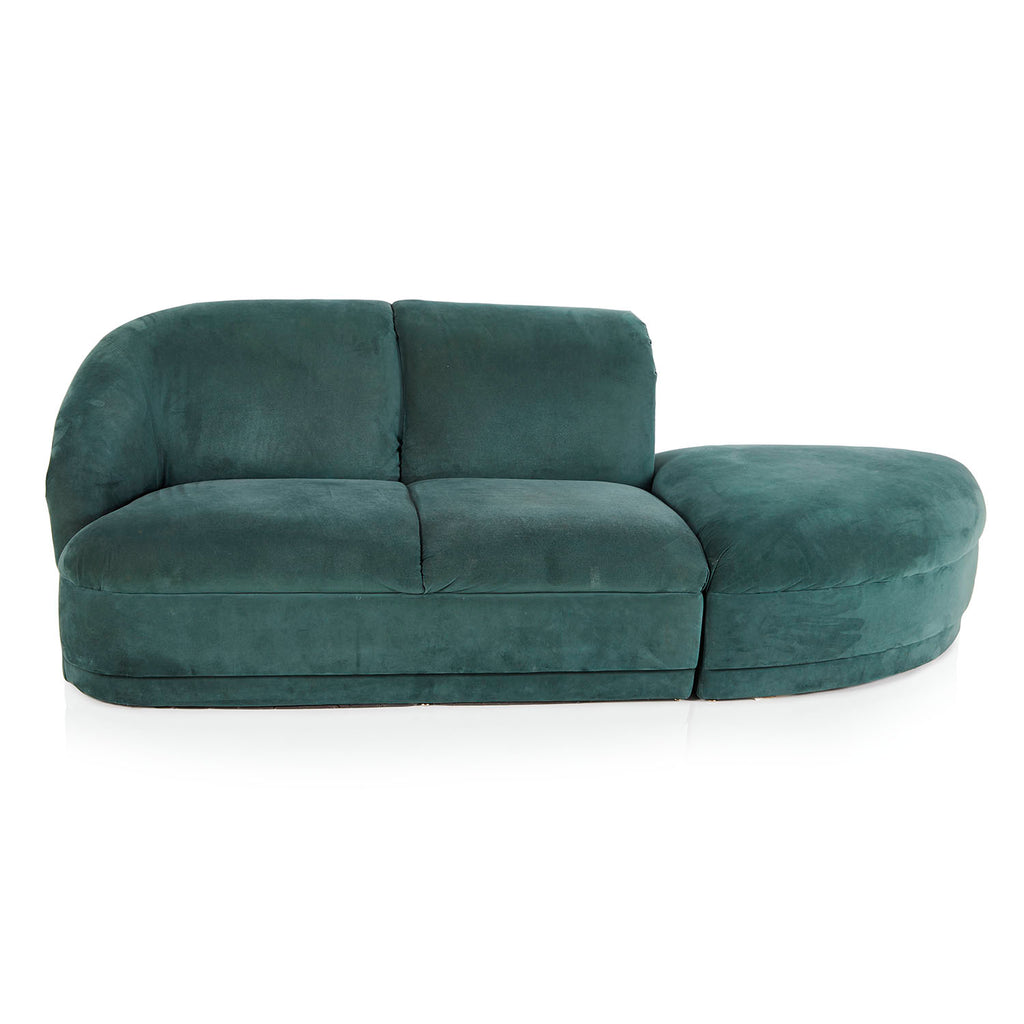 Teal Green Velour Sectional Sofa