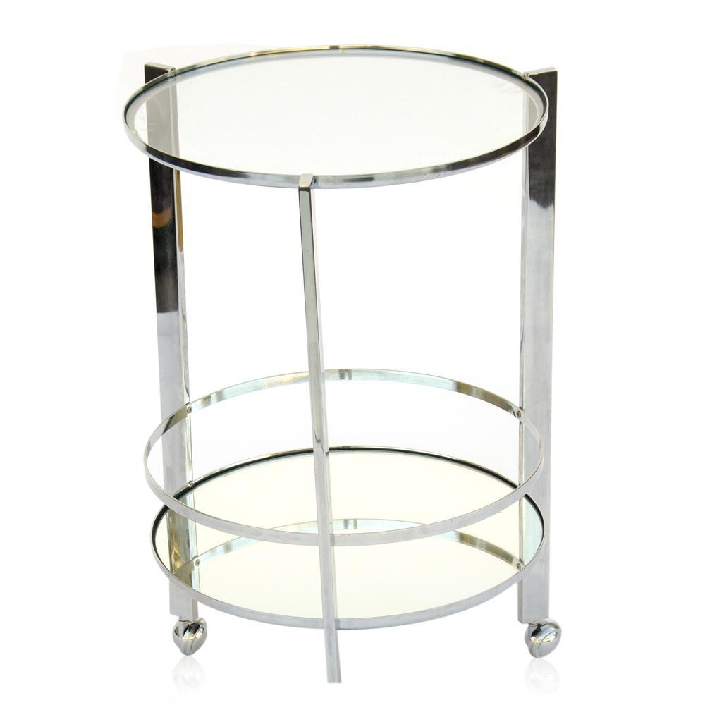 Chrome and Glass Circular Rolling Bar Table