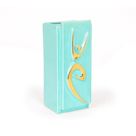 Blue Aqua Gold Dancer Vase