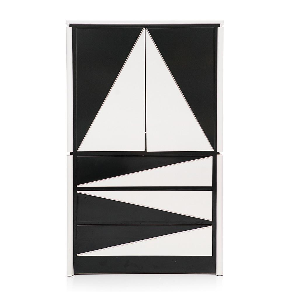 Black and White Geometric Pattern Highboy Dresser