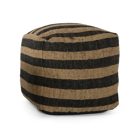 Black + Tan Striped Burlap Pouf