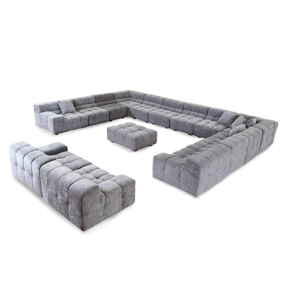 Grey Fabric 15 Seat Sectional