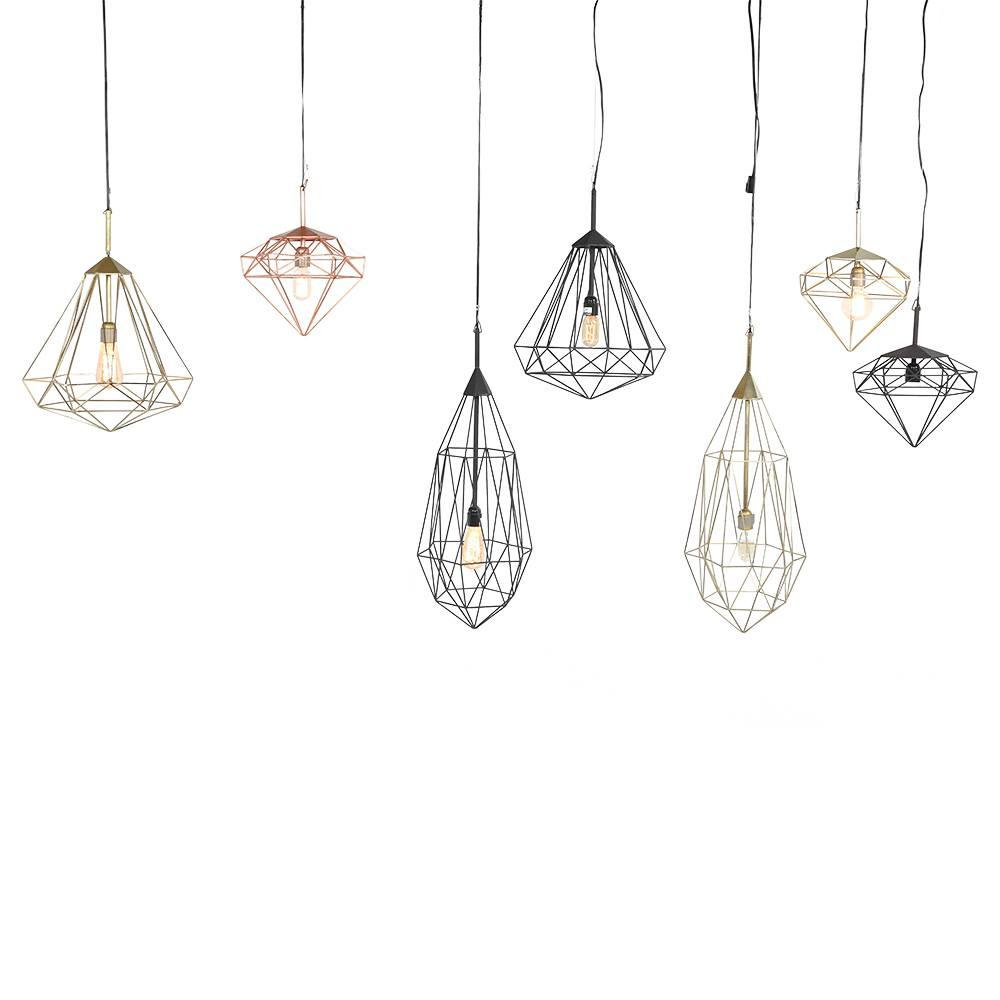 Hanging Geometric Diamond Lamp - Gold