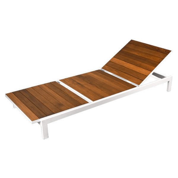 White Teak Chaise Lounge