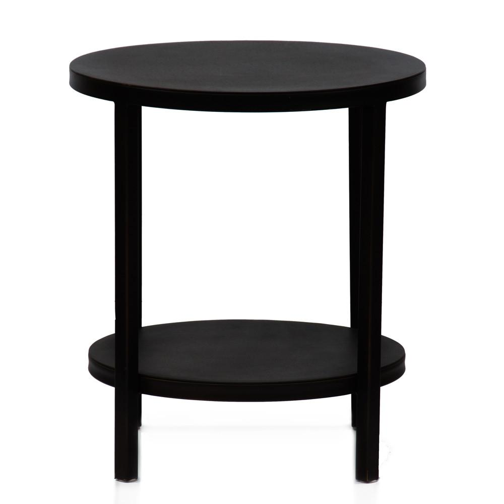 Black Metal 2-Tier Side Table