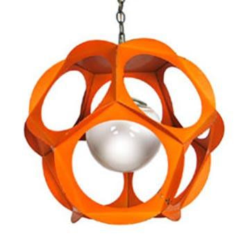 Circle Cut Outs Orange Hanging Pendant