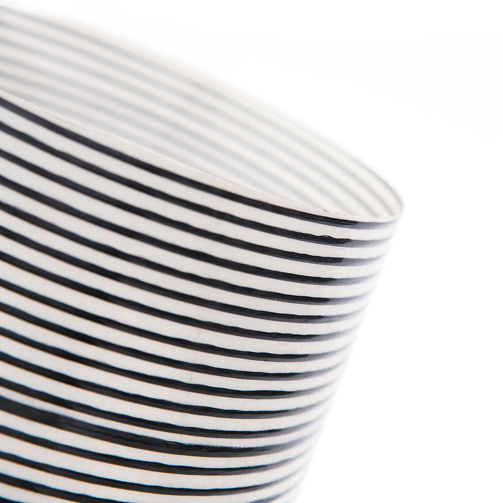 Black and White Striped Plastic Table Lamp