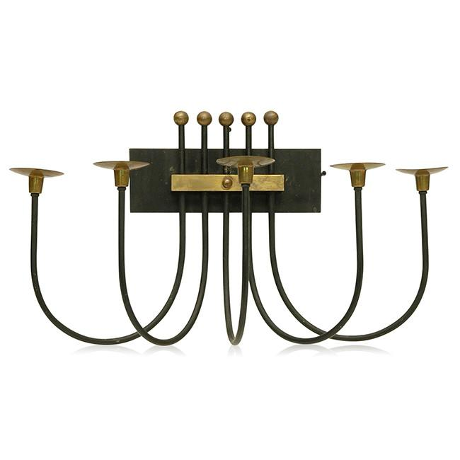 Black Brass Wall Candle Holder