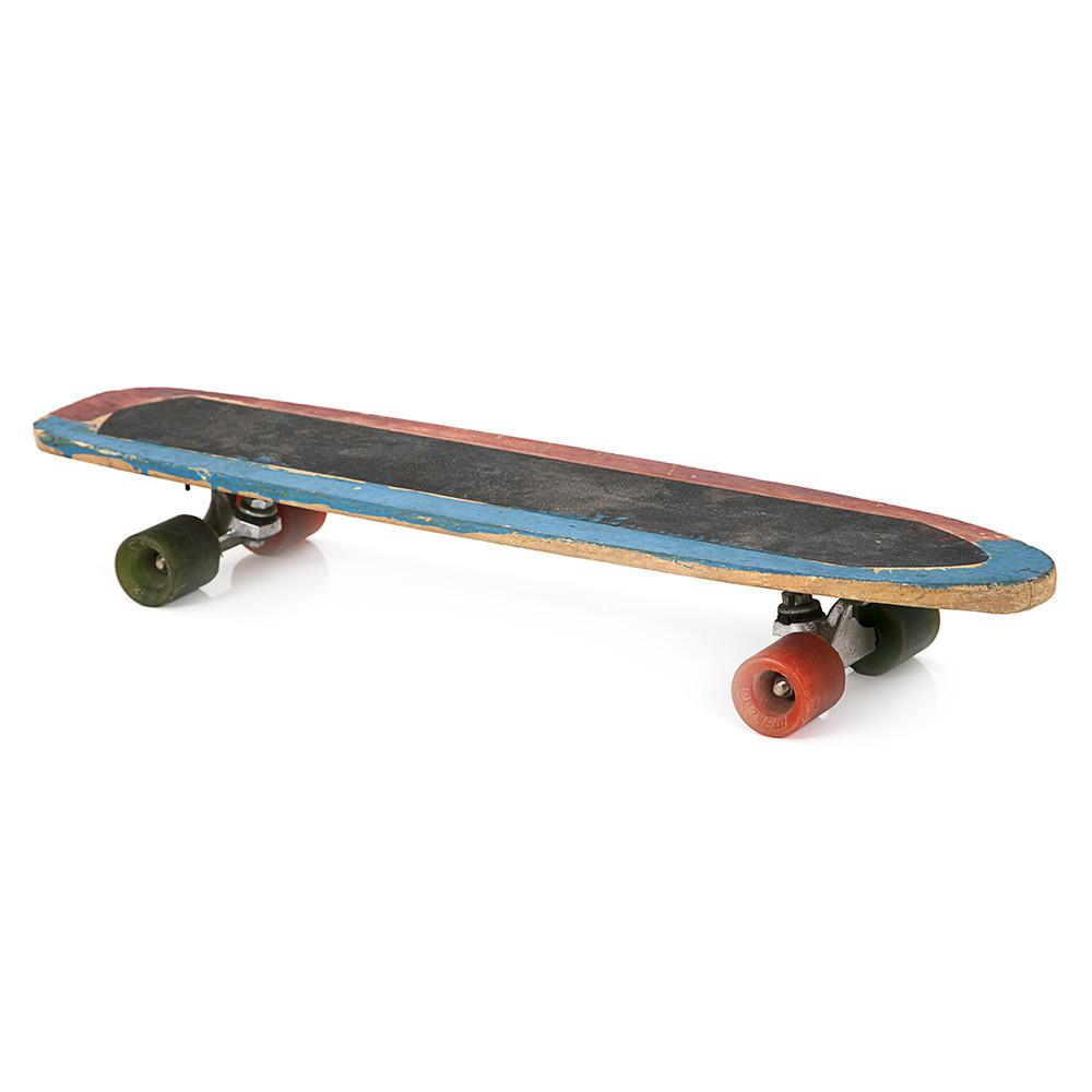 Blue and Red Wood Skateboard
