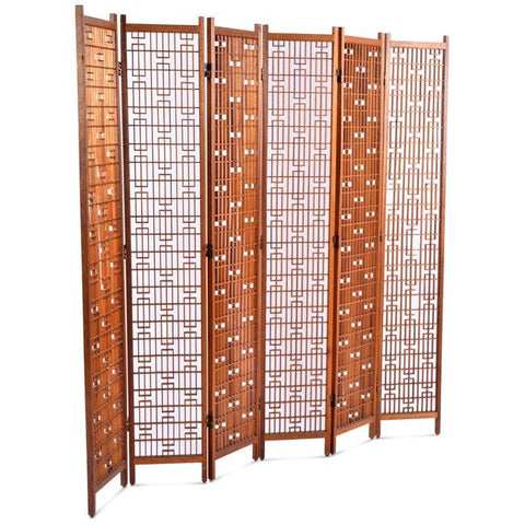Wood Patterned Six-Panel Screen