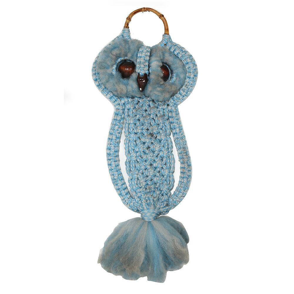 Owl with Tassel - Blue