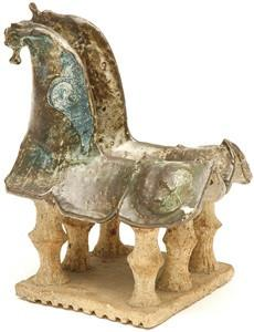 Beige Blue Two Horse Sculpture