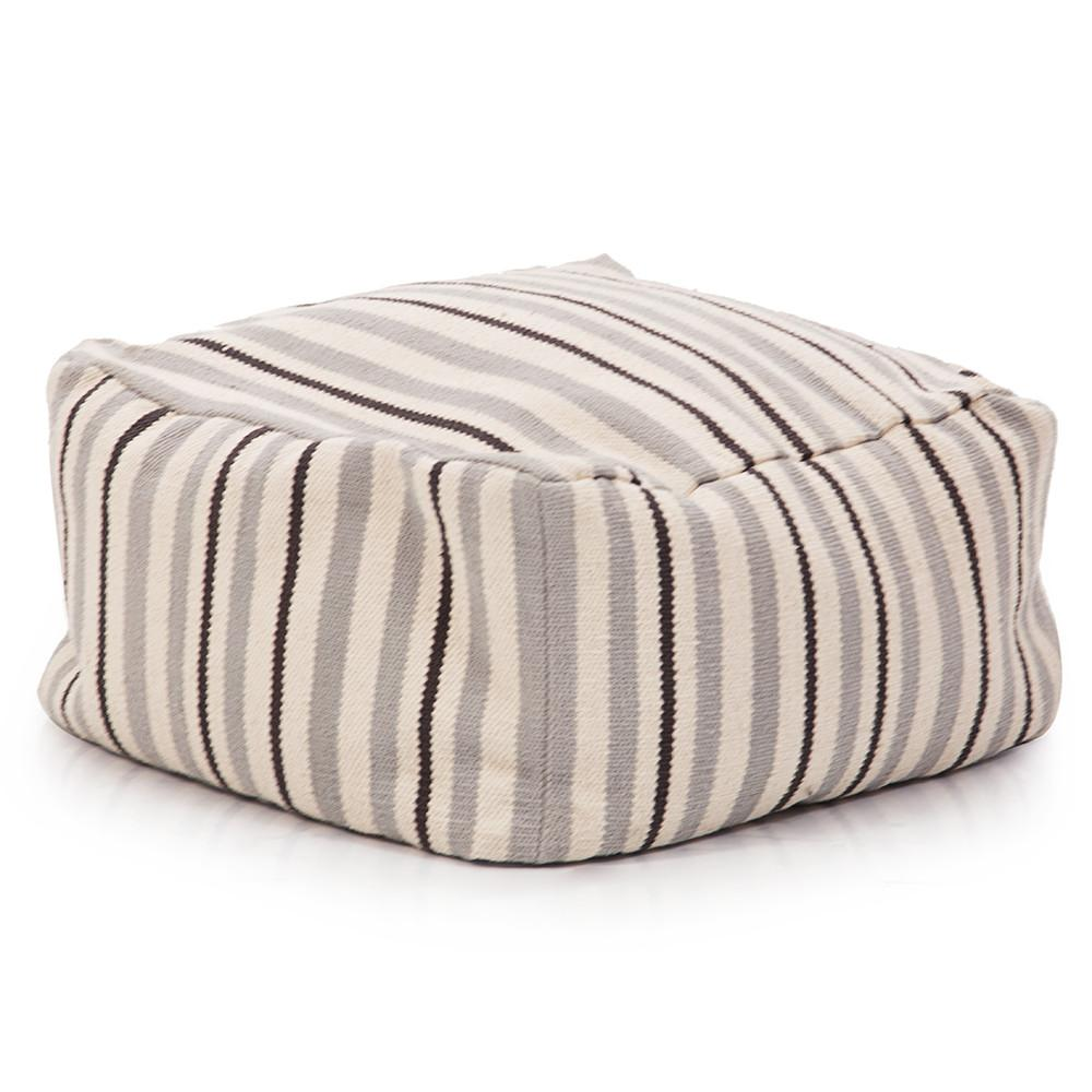 Grey and Black Striped Pouf