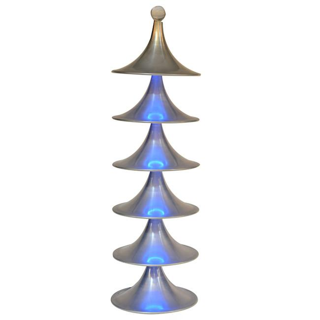 Aluminum with Blue Neon Lights Tree