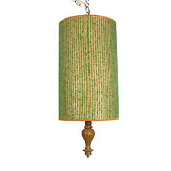 Green Fabric Cylinder Pendant
