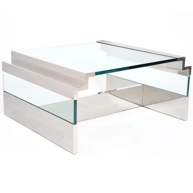 Chrome Glass Coffee Table with Stepped Sides
