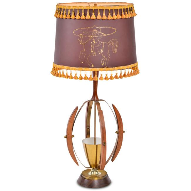 Brass and Walnut Cowboy Lamp