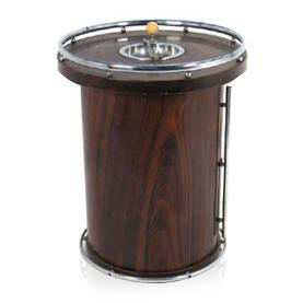 Round Wooden Standing Ashtray