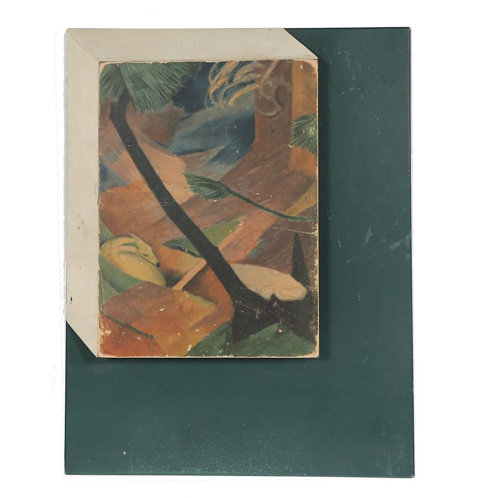 Asymmetrical Painting on Dark Green