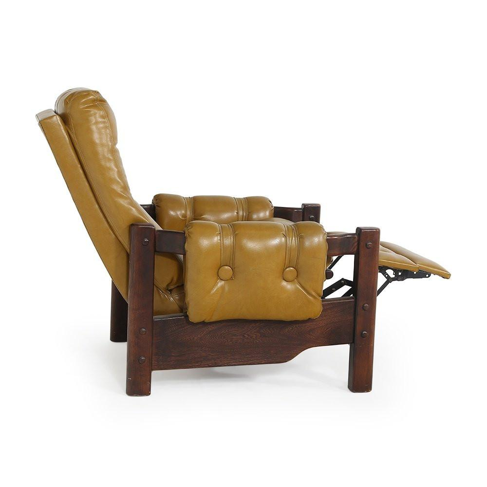 Leather and Wood Recliner