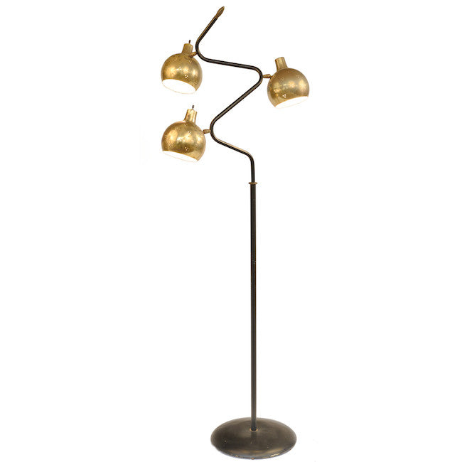 Brass Globe on Wavy Metal Floor Stand