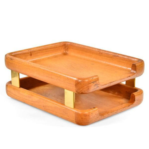 Wood and Brass Paper Tray