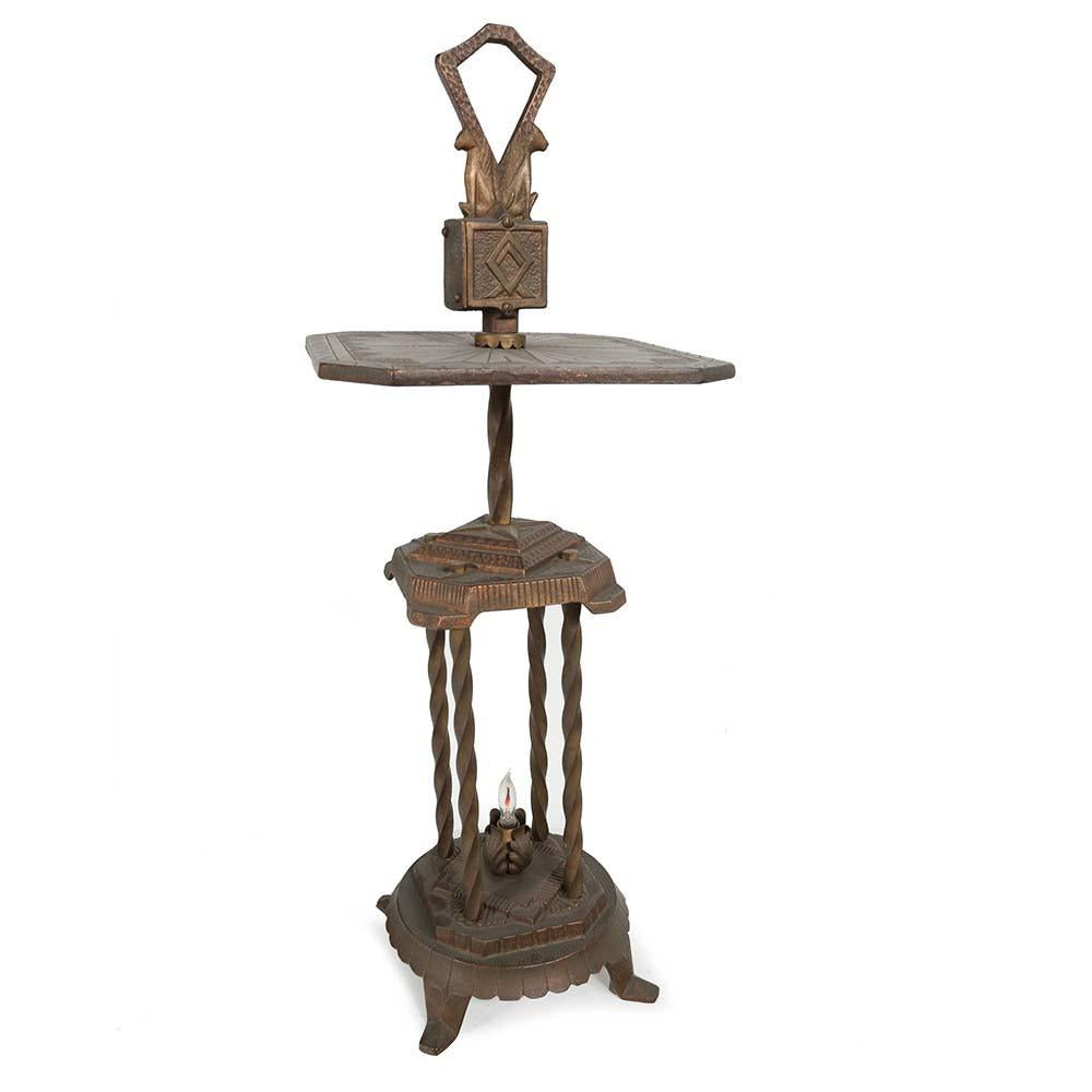 Antique Bronze Iron Lamp Side Table