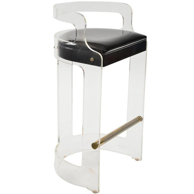 Lucite Black Cushion Barstool