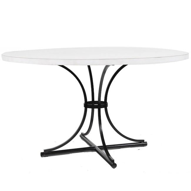 White Round Top Dining Table