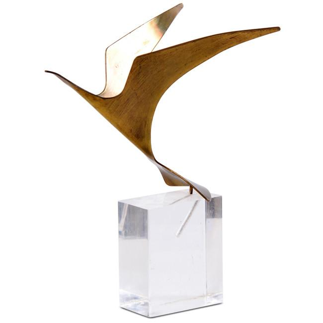 Brass Bird on Lucite Block