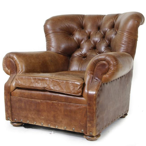 Brown Studded Tufted Leather Lounge Chair