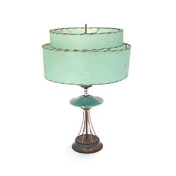 Turquoise Shade Table Lamp with Black Base