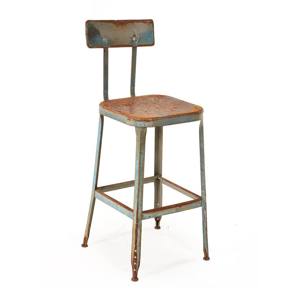 Rustic Blue Shop Stool