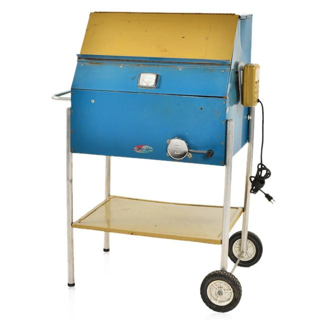 Blue and Yellow Cart Grill