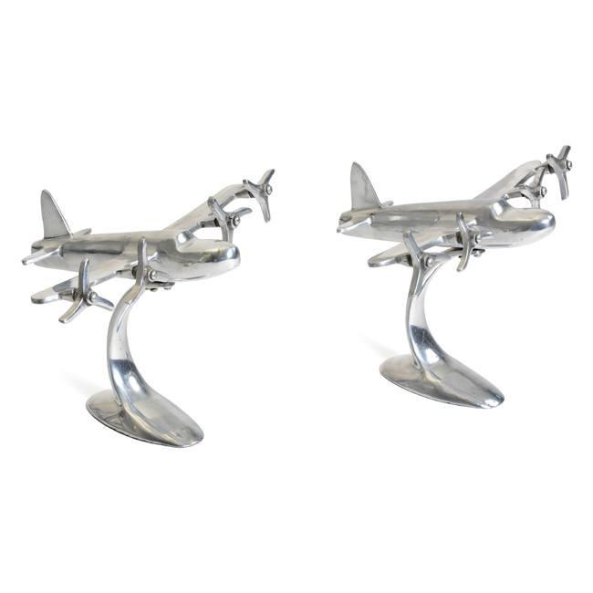 Silver Chrome Airplane Statue