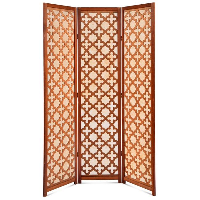 Wood Patterned Three Panel Screen