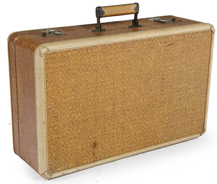 Tan Suitcase with Wooden Weave