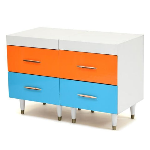 Blue & Orange Four-Drawer Dresser