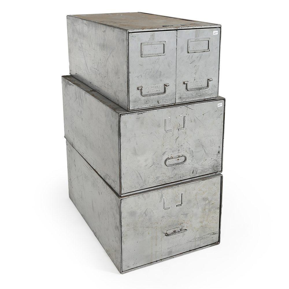 Set of Silver Filing Cabinets