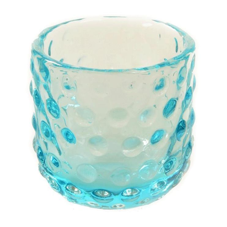 Blue Aqua BFA Glass Dot Vase