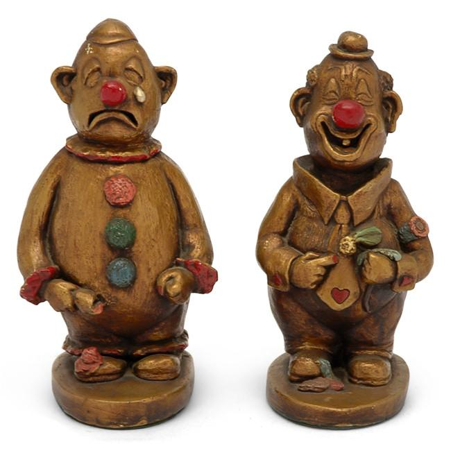 Bronze Red Happy Sad Clowns
